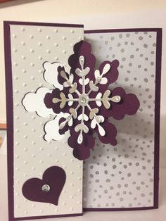 Stampin Up - snowflake card thinlit dies in blackberry bliss and whisper white Cardstock, along with All is calm DSP by lorie Christmas Cards To Make, Xmas Cards, Holiday Cards, Christmas 2017, Snowflake Cards, Snowflakes, Origami, Purple Cards, 50th Birthday Cards