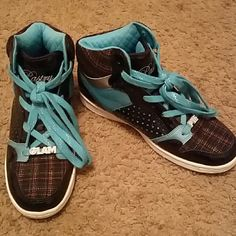 Pastry shoes Aqua blue and black Pastry shoes, size 8.5. Also has a plaid cloth design and jewels lining front end of shoe! Shoes Sneakers