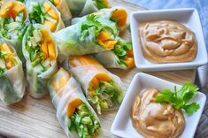 Tropical summer rolls - a vegan recipe with avocados, mangoes, and cucumber