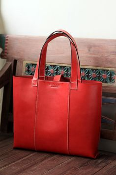 Red Leather handmade bag