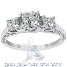 2.37 Carat F-VS1 Three Stone Cushion Cut Diamond Engagement Ring 18K White Gold - Liori Exclusive Engagement Rings - Engagement - Lioridiamonds.com