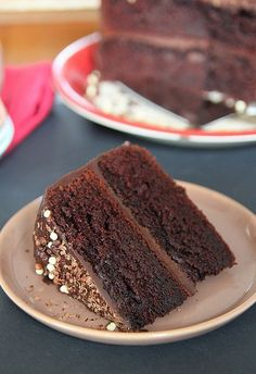 Look Who's Cooking Too: Double chocolate layer cake filled and frosted with chocolate ganache