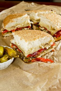 Vegetarian Roasted Red Pepper + Olive Muffuletta