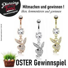 Oster Gewinnspiel bei Piercing-Trend. Zu gewinnen gibt es 3 Bauchnabelpiercings mit Playboyhasen Playboy, Piercing, Trends, Belly Button Rings, Jewelry, Instagram, Games, Jewlery, Jewerly