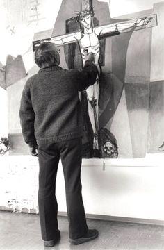 "Curd Lessig (1982) Gemünden, Arbeit am ""Kreuzweg"""
