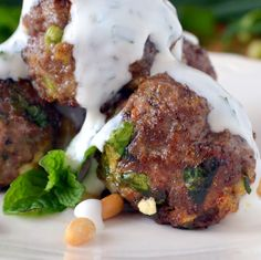 Lebanese Meatballs - sub bread crumbs with oat bran and use low fat feta