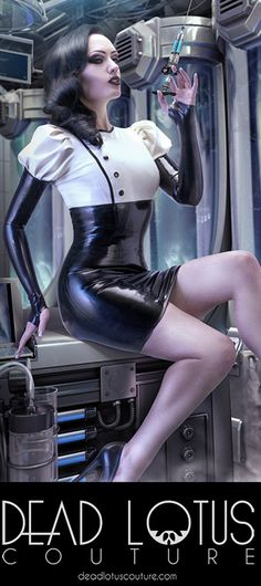 ELECTRIKA MAD Latex Dress with puffy sleeves and metal buttons, medical, scientist, high waist on Etsy, $254.28