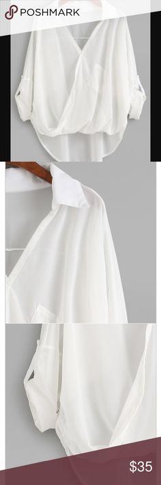NWOT White Dip Hem Wrap Blouse One size, high low design, polyester, has v neck collar and has a pocket. Shoulder 89cm, bust 142 cm, length 53/70cm, sleeve length 31cm ROMWE Tops Blouses
