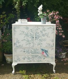 Shabby chic tallboy in Annie Sloan's Pure with Ralph Lauren's Dauphine wallpaper decoupage, by Imperfectly Perfect xx