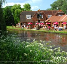 A summer's day, a pint by the riverside – bliss. The Anchor is perched on Pryford Lock next to the RHS Wisley Gardens. #rhsgarden #eatsurrey #theanchor
