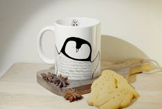 Penguin mug hand illustrated quirky wild by WooodlandFactory