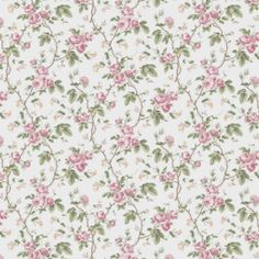 A sweet, traditional rose and honeysuckle style trail. Shown in the soft pink and green on a light background. Please request a sample for true colour and texture. Traditional Roses, Lights Background, Pink Wallpaper, True Colors, Pink And Green, Lily, French, Texture, Quilts