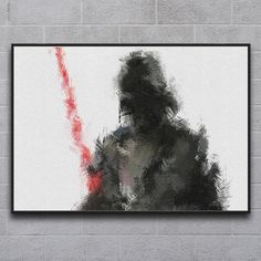 """Darth Vader // Star Wars (23.4""""W x 16.5""""H) - Focusing on legends and heroes in pop culture, Miranda Sether uses paint and rough canvas to depict her subjects in a style at reminiscent of soft focus photography and classical oils"""