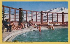 Enjoying a post-ski swim at Sun Valley, Idaho. Sun Valley Idaho, Hotel Pool, Mountain High, Vintage Ski, At The Hotel, All Over The World, Hanging Out, Skiing, Tourism