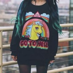 sweater sweatshirt black rainbow unicorn cute www.ebonylace.storenvy.com kawaii grunge shirt vans warped tour go to hell grunge soft grunge pony unicorn shirt jersey hell little pony colorful hipster sweater soft ghetto kwaii ponies my little pony illuminati eye triangle large big yellow orange vintager etro young youth girl women teenagers childhood tv series show movies kid child 90s style tumblr sassy tumblr fashion tumblr girl green sweater weather fall hoodie beavis and butt-head pop…