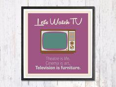 Retro Art Print Digital Art Print Lets Watch TV by LooveMyArt