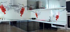 kitchen glass splashback with HQ digital printing directly on glasspanel Decor, Furniture, Glass Splashback, Glass Kitchen, Digital Prints, Home Decor, Kitchen, Glass, Desk