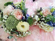 Sweet avalanche roses, eustoma, ammi visage, gypsophila, eucalyptus & forget me not wedding bouquets