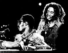 BOB MARLEY and The Wailers joined on scene by STEVIE WONDER, Kingston, 1975...