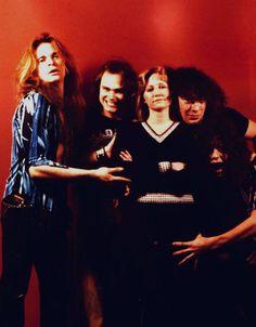 "Van Halen pose with Susan Masino, author of ""Rock N Roll Fantasy"""