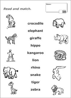 printable connect wild animals name worksheet for kids worksheets preschool worksheets. Black Bedroom Furniture Sets. Home Design Ideas