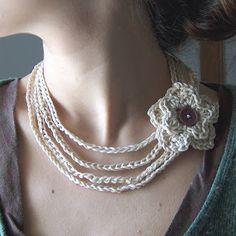 Crochet Necklace - Free Crochet Pattern - (creativeyarn.blogspot)