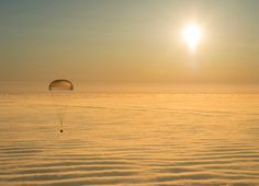 The Soyuz TMA-14M capsule, holding International Space Station crew members Barry Wilmore of the U.S. and Alexander Samokutyaev and Elena Serova of Russia, descends via parachute to a landing spot in central Kazakhstan. | (REUTERS/Bill Ingalls/NASA/Handout via Reuters)