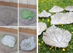 Gartendeko aus Beton selbstgemacht-wasserbrunnen-blatter | Garten ...