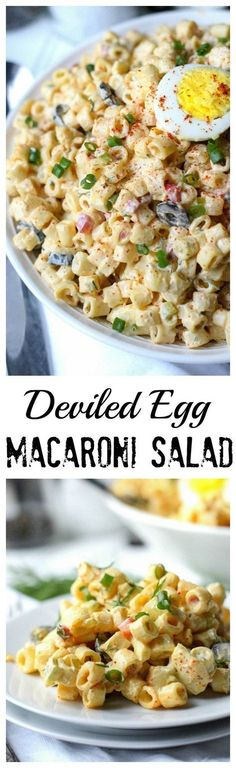 deviled egg macaroni salad is packed with eggs and creamy noodles. A super This deviled egg macaroni salad is packed with eggs and creamy noodles. This deviled egg macaroni salad is packed with eggs and creamy noodles. Deviled Egg Macaroni Salad Recipe, Deviled Eggs, Macaroni Salads, Taco Salads, Scrambled Eggs, Pasta Dishes, Food Dishes, Pasta Soup, Shrimp Pasta