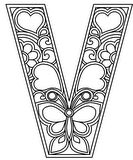 Download, print, color-in, colour-in lowercase v