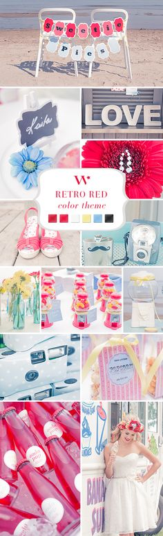 A Retro Red wedding theme! This color palette is such a fun and fresh combo for any wedding. We love red!