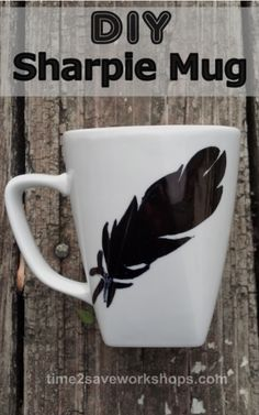 DIY Sharpie Mug: Make a beautiful new set of dishes with just a sharpie and a mug from the Dollar Store!
