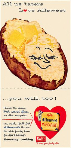 It's official, all 'taters  Allsweet Margarine. vintage food ad 1950s potatoes margarine