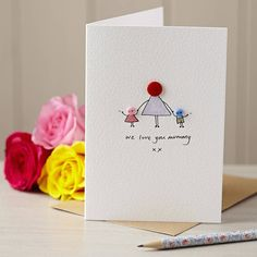 Make Mummy's day with this delightful, hand illustrated 'Button Mummy' card, ideal for birthdays and Mother's Day.This design can be customised with any child combination. Do mention the age of the child/ren if appropriate. If you have any colour preferences please let me know in the