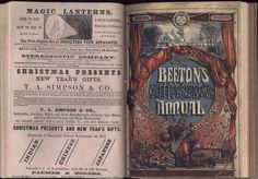 "Beeton's Christmas Annual. The British Library copy is at shelf mark PP6704. The 1866 Annual was published by S O Beeton. The 1867 Annual was published by Ward, Lock and Tyler. The image shows the papeer covers: the lower cover verso of the 1866 Annual and the upper cover recto of the 1867 Annual. The cover for 1866 is signed: ""T. Sulman Dt"" [i.e Thomas Sulman], and ""H. N. Woods St."" The cover for 1867 has been cropped but probably had these signatures."
