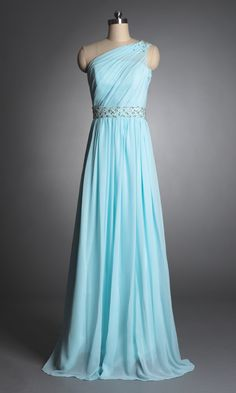 Cheap Chiffon One Shoulder Pleated A-line Formal Dress PLFD355 [PLFD355] - AUD$194.88