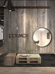Creative environment post production studios and office. Old wood recuperation project with vintage look in loft space. Logo display.