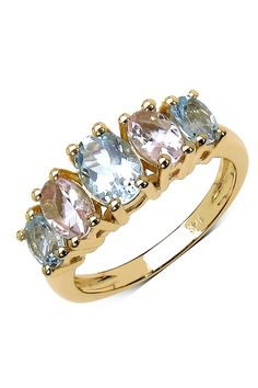 Oval Aquamarine & Morganite Graduated Five Stone Ring on @HauteLook