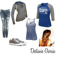 Miss the Dodgers sweater and hair style Tomboy Clothes, Tomboy Outfits, Sport Outfits, Casual Outfits, Cute Outfits, Dodgers Outfit, Dodgers Gear, Grey Converse, Tom Boy