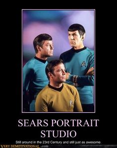 Kirk, Spock, and Bones got their group portrait taken at the Portrait Studio of the Alpha Quadrant Sears store.