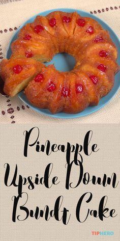 Pineapple Upside Down Bundt Cake Recipe | Pineapples, cherries, yellow cake mix…