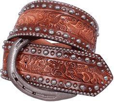 Horse shoe belt in vintage brown leather from Double J