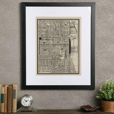 Vintage Chicago Map Framed Print