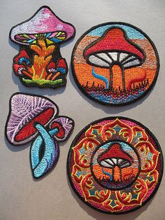 Magic Mushroom Embroidered IRON-ON PATCH Hippie Psychedelic Lotus *Choose Design | eBay