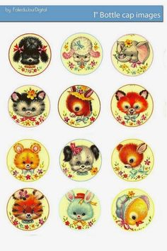 Folie du Jour Bottle Cap Images: Free baby animals bottle cap images