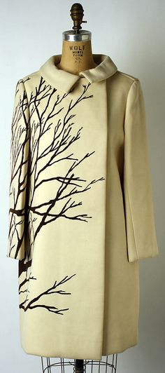 "Wool coat by Bill Blass for Maurice Rentner, American, 1967. Label: ""Mr. John"""