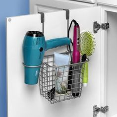 Organize your hair care tools and accessories with Spectrum's Grid Over-the-Door Styling Caddy. Great for bathroom clutter-control. The satin nickel finish will match any décor.