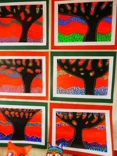 Bronwyn Bancroft (Australian artist) inspired tree paintings. Grade 3 and 4
