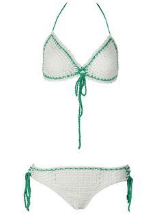 White Color Block Trim Color Block String Triangle Bikini Top and Bottom