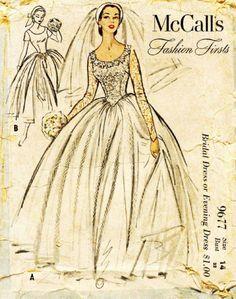 Vintage 1954 Bridal Gown Sewing Pattern by VintageSewSimplySewn, $39.99